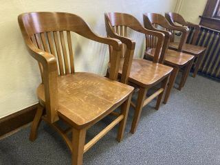 Four Vintage Wood Office Chairs Bankers Desk Courthouse Lawyer Antique Oak 4