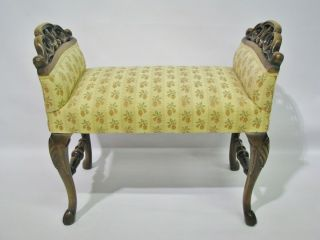 Vintage 1920s - 30s Bench With Carved Arms & Hoof Feet; Upholstery