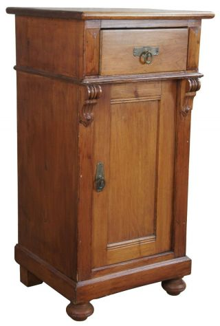 """Old World English Pine Pedestal Cabinet Vintage Accent Table Nightstand 32 """""""