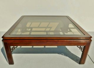 """Antique/vtg 41 """" Chinoiserie Asian Square Mahogany Wood Glass Top Coffee Table"""