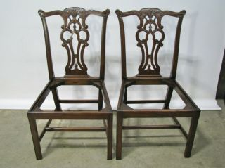 Vintage Solid Mahogany Chippendale Style Chairs; Beautifully Hand Carved