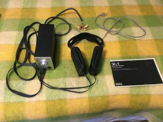 Vintage Stax Lambda Headphones And Srd - 7 Earspeaker Adapter