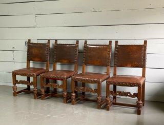 Four Vintage Spanish Revival Leather Oaks Brass Nail Head Dining Chairs