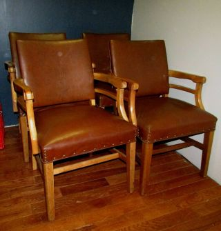 Set Of 4 Vintage Wood & Vinyl Bankers Chairs W/nail Head Adornments