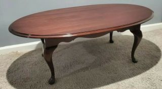 Ethan Allen Georgian Court Oval Coffee Table Cherry 11 - 8430 225 Made In Usa Vtg