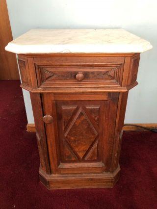 Antique Vintage Wood Victorian Gothic Marble Top Half Commode Nightstand