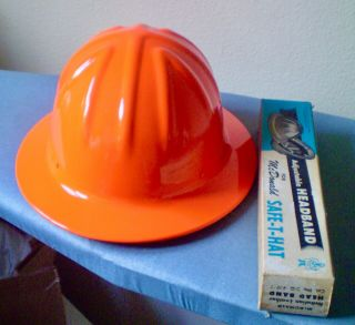 Vtg Mcdonald Full Brim Orange Aluminum Hard Hat With Liner,  Extra Hdbd
