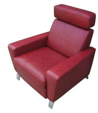 Vintage Red Modern Recliner Lounge Chair Vinyl Club Game Seat Chrome Accent