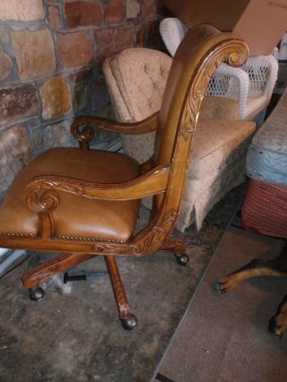 Vintage High End Office Chair Brown Leather.  Made For Riverside/ Spark Light