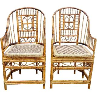 Pair Vintage Chinese Chippendale Style Bamboo Armchairs