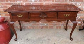 Vintage Thomasville Cherry Sofa Table Queen Ann 3 Drawers Local