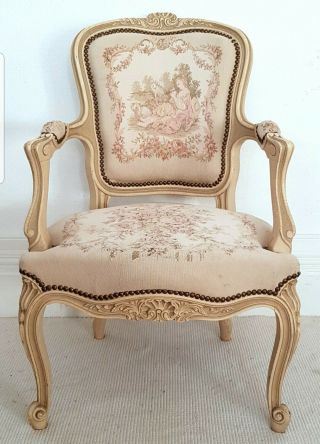 Vintage French Aubusson Tapestry Chair,  Louis Xv,  Antique Chair,  Chateau.