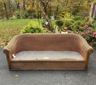 Wicker By Henry Link Sofa Vintage Rattan Couch For Restoration No Cushions