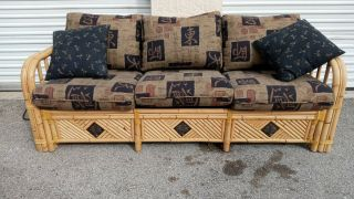 Vintage Mid Century Bamboo Leather Wrap Sleeper Sofa Couch