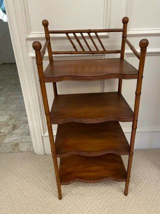 Antique Vintage Bamboo Bookcase Etagere 4 Shelf Stand