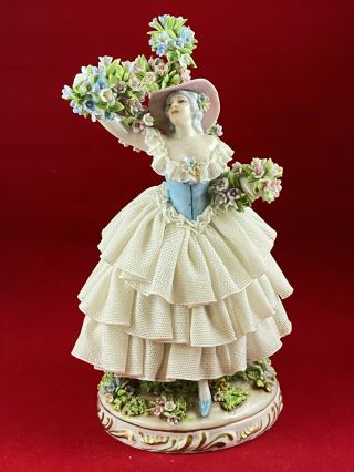 Exquisite Very Rare Vintage Luigi Fabris Lace Figurine Woman With Blooming Tree.