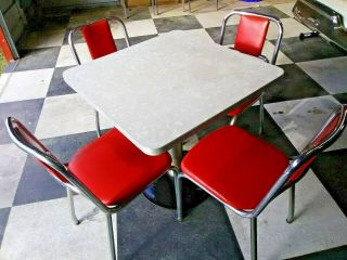 Retro Art Deco Coke Soda Diner Vintage Pedestal Table & 4 Red Chrome Chairs
