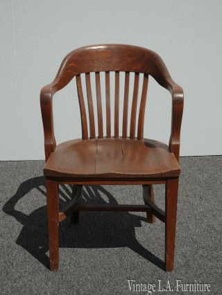 Vintage French Country Brown Bankers Chair Federal Style