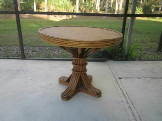 Vintage Bamboo Rattan Round Dining Room Table