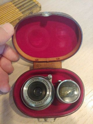 Vintage Canon 28mm F/3.  5 Lens Screw Mount With Finder In Leather Case