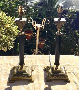 Vintages Corinthian Reeded Brass Column Table Lamps Quality Stunning