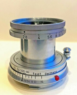 Leica Leitz Elmar 50mm F2.  8 Vintage M Mount Collapsable Lens Shipped From Usa