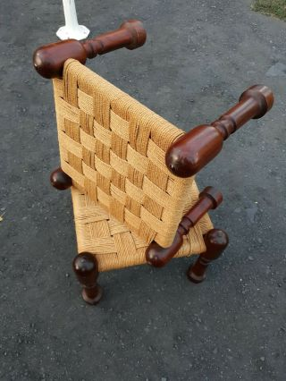 Vintage Danish Modern,  Brazilian Style,  Rosewood And Rope Stools,  Pair,