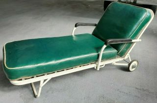 Vintage Heavy Metal Chaise Outdoor Lounge With Extra Pad And Cover On Wheels