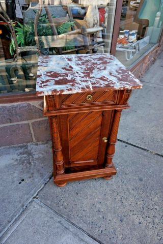 Vintage European Accent Table Marble Top With Spiral Columns