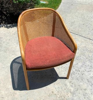 Ward Bennett Vintage Mid Century Modern Caned Cherry Wood Dining Accent Chair