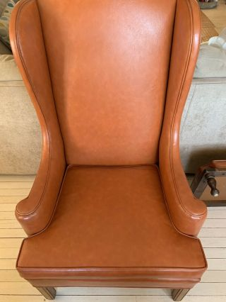 Vintage Orange Chair With Ottoman From Ethan Allen