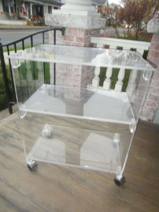 Vintage Lucite 3 Tier End Stand Table Cart Casters Plexicraft,  Nyc