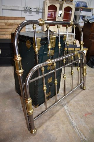 Vintage Pewter And Brass Full Size Bed,  Head Board And Foot Board