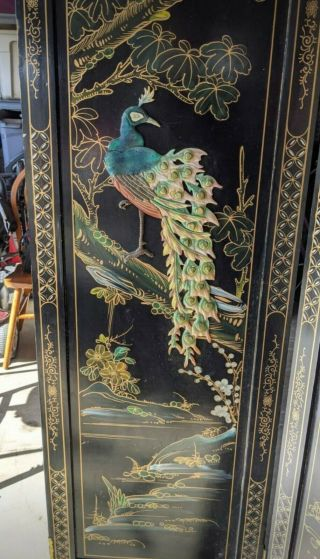 Japanese Vintage Oriental 4 Panel Mother Of Pearl Folding Screen
