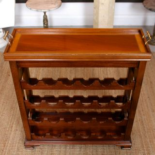 Vintage Wine Rack Inlaid Mahogany Tray 24 Bottle Cabinet Carved