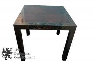 Asian Oriental Square Table Glass Top Gold Painted Black Lacquer Wood Ships Vtg