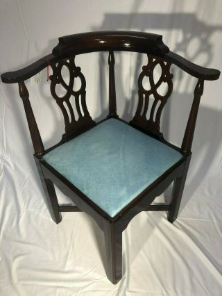 Hickory Chair Mahogany Vintage Chippendale Corner Chair