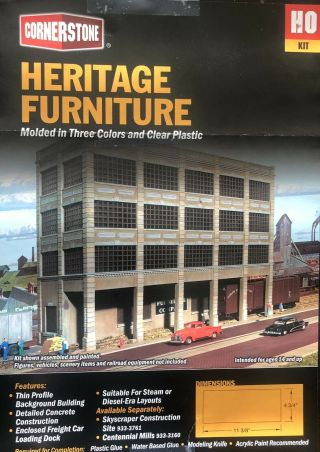 Walthers Cornerstone 933 - 3164 Heritage Furniture W/ Light Building Kit Ho Scale