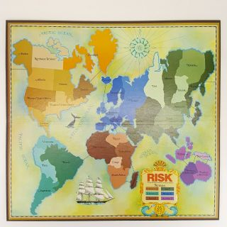 Risk World Conquest Replacement Game Board Only Craft Wall Art Map 1974