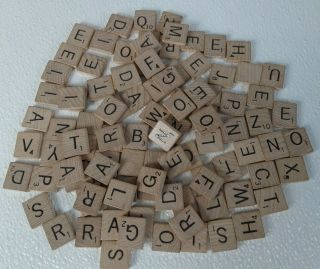 Scrabble 1989 Replacement 100 Letter Wood Tiles Crossword Game Crafts Vintage