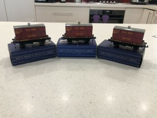 Hornby Dublo D1 3x 32087 Low Sided Wagon With Furniture Container Boxed