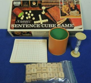1971 Scrabble Sentence Cube Game Word Combination Letter Wood Dice Crafts