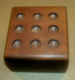 "3"" X 3"" Desk Hand - Crafted Wood Tic - Tac - Toe Game W/ 8 White & Clear Marbles"