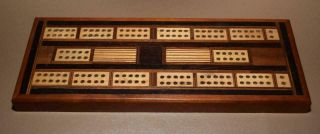 "Vintage Inlaid Cribbage Board - Hand Crafted - 11 X 4 1/4 X 3/4 "" -"