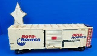 "Aristo Craft G Scale "" Roto Rooter "" Hand Painted Train Box Car - Great Patina"