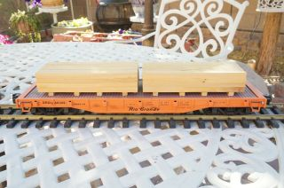 Aristo - Craft 446309 G Scale Drgw Rio Grande Flat Car W/ Real Wood Load