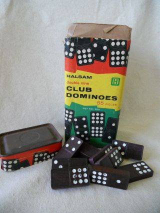Vintage Halsam Brand Double Nine Club Dominoes Complete Set Plus - Play Or Craft