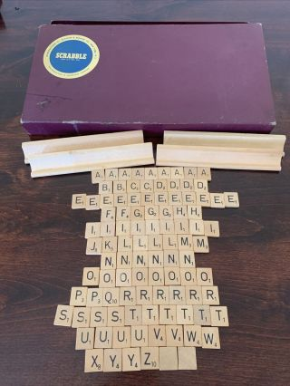 Vintage Scrabble Game Complete Set Of Wood Tiles Play Or Craft 1953 Copyright.