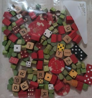 Monopoly Game Wood 60,  Green Houses 25 Red Hotels Poker Chips Boggle Dies Crafts?