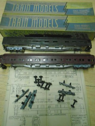 "40s Scale - Craft Oo Gauge 2 Passenger Cars 13 "" L Metal & Wood Obs Fix / Parts Deal"
